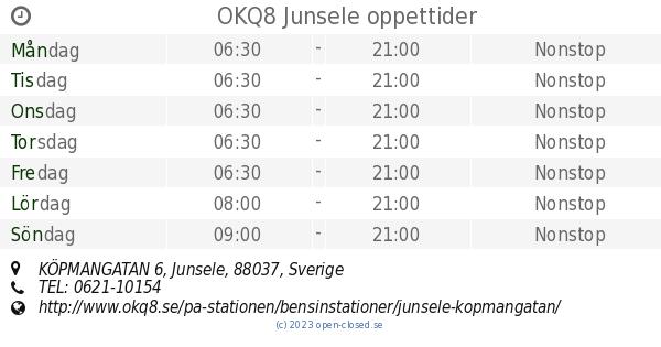 Junsele Karta Sverige.Okq8 Junsele Oppettider Kopmangatan 6