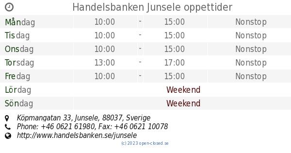Junsele Karta Sverige.Handelsbanken Junsele Oppettider Kopmangatan 33