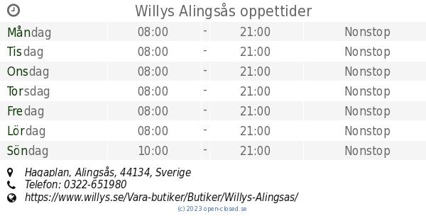 willys alingsås öppettider